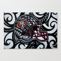 49ers Canvas Prints featuring POLY STYLE 49ERS by Lonica Photography & Poly Designs