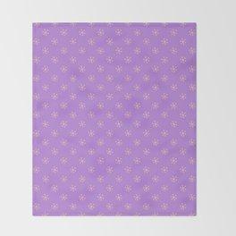 Deep Peach Orange on Lavender Violet Snowflakes Throw Blanket