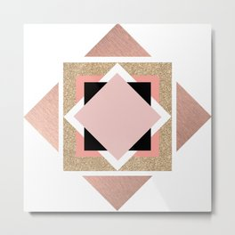 Carré rose Metal Print