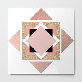 Carré rose Metal Print