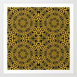 3-D Look Golden Kaleidoscopes Mandalas 1 Art Print