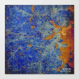 Boston Massachusetts 1893 colorful vintage old map. Orange and blue artwork Canvas Print