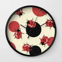 polka Wall Clocks featuring Ladybird Polka by Paula Belle Flores