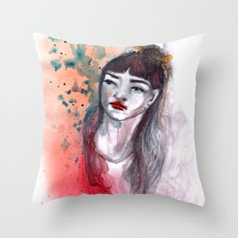 Fille rouge Throw Pillow