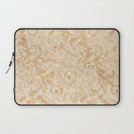 Elegant vintage faux gold glitter antique floral damask Laptop Sleeve