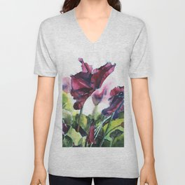 Cyclamen watercolor, pink flowers Unisex V-Neck