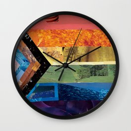Progress Pride Flag Collage Wall Clock