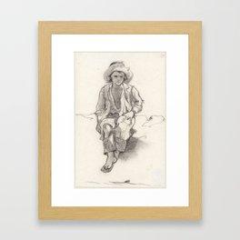 Studie van een zittende jongen, van voren, Johan Daniël Koelman, 1841 - 1857 Framed Art Print