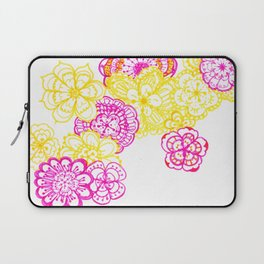 28. Colourful Pink and Yellow Flower in Henna World Laptop Sleeve