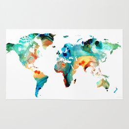 Map of The World 11 -Colorful Abstract Art Rug