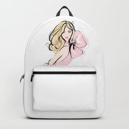 Fashion blonde girl in pink Backpack