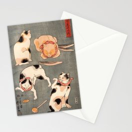 Four cats in different poses by Utagawa Kuniyoshi Stationery Cards