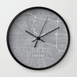 Eugene Map, Oregon USA - Pewter Wall Clock
