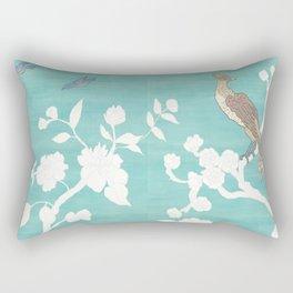 Chinoiserie Panels 3-4 White Scene on Teal Raw Silk - Casart Scenoiserie Collection Rectangular Pillow