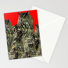 FAMILY OF OWLS IN TREE RED ART DESIGN ART Stationery Cards