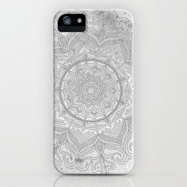 gray splash mandala swirl boho iPhone Case