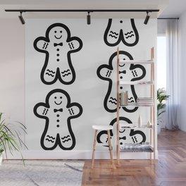 Gingerbread Man (black & white), simple, bold design Wall Mural