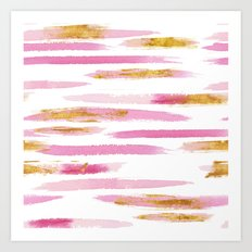 Chic Pink and Gold Watercolor Brush Strokes Art Print