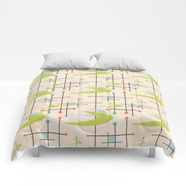 Mid Century Modern in Lime and Blush Comforters
