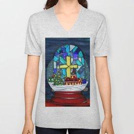 Snowglobe Whimsey Catholic Christmas Unisex V-Neck