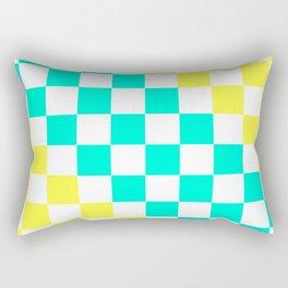 Cheerful Aqua & Yellow Checkerboard Pattern Rectangular Pillow