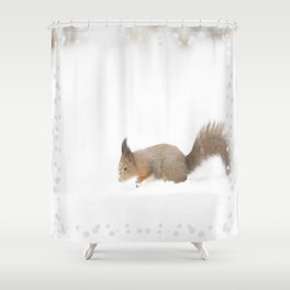 Little squirrel sitting in the snow #decor #society6 #buyart Shower Curtain