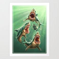 Great White Sharks #1 Art Print