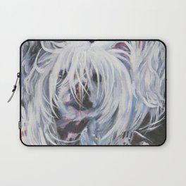 Chinese Crested Dog portrait art from an original painting by L.A.Shepard Laptop Sleeve