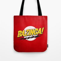 bazinga Tote Bags featuring Bazinga Flash by Nxolab