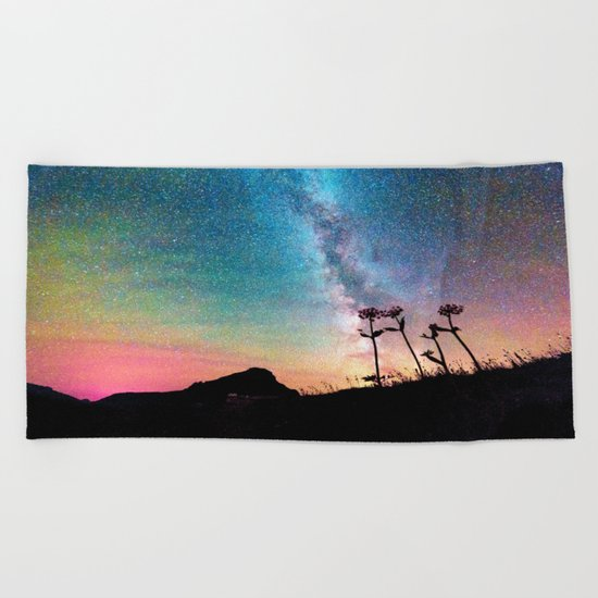 Milky Way Landscape Rainbow Pastel Beach Towel