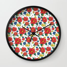 Red Vinage Flowers Wall Clock
