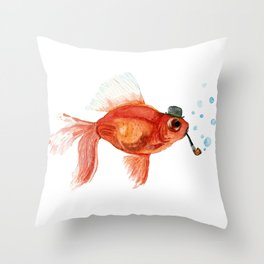 Goldfish with pipe and hat Throw Pillow