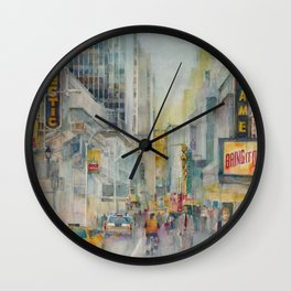Broadway,  New York - Five O'Clock Revised Wall Clock