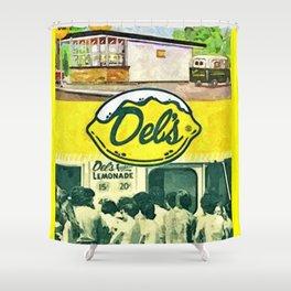 Vintage Del's Lemonade Rhode Island Vintage Advertising Poster Shower Curtain