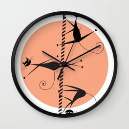 Pole dancing cats Wall Clock