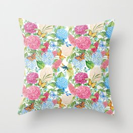 seamless pattern flowers and butterflies.hydrangeas and lupines Throw Pillow