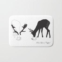 Deer love a Cuppa! Deer products, woodland illustration, animal lovers, deer gifts, Bath Mat
