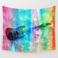 guitar Wall Tapestries featuring Rainbow Guitar by Vitta
