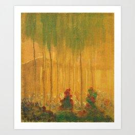 Summer, Alpine Red Roses and Birch landscape painting by Mikalojus Konstantinas Ciurlionis Art Print