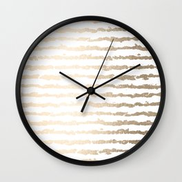 White Gold Sands Ink Stripes Wall Clock