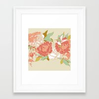 party Framed Art Prints featuring garden party by Teagan White