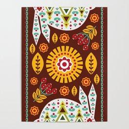 Folk Art Simple Pattern in Scandinavian Poster