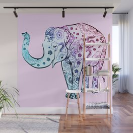 Painted Elephant Wall Mural