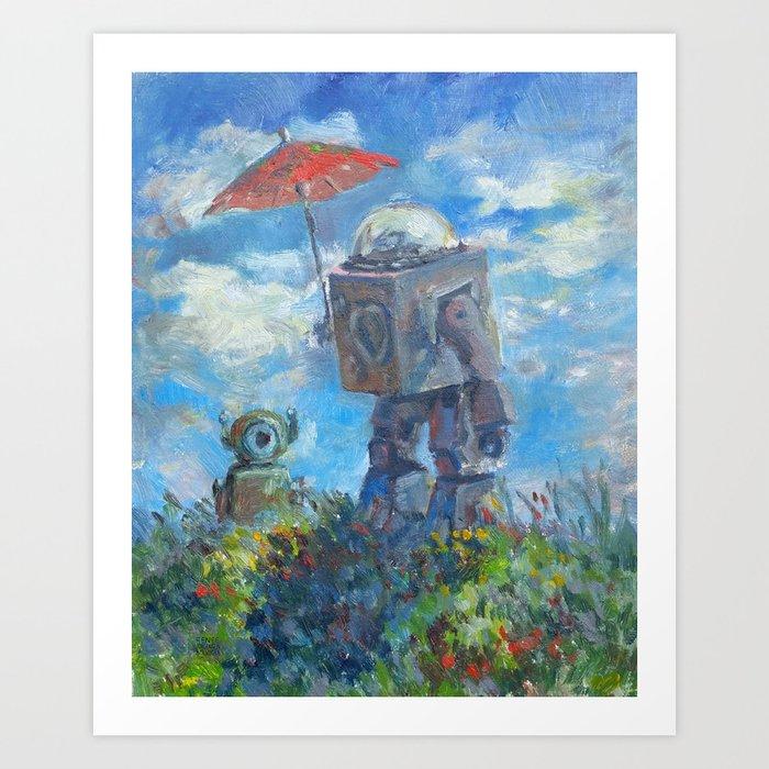 Robot with Parasol Kunstdrucke