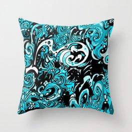 Funky Blue  Throw Pillow