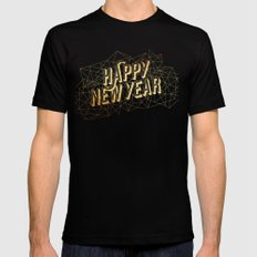 Happy New Year 2X-LARGE Black Mens Fitted Tee