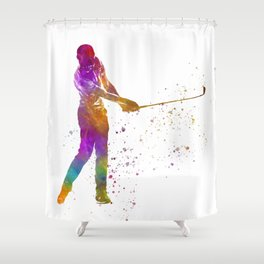 Golf player in watercolor-13 Shower Curtain
