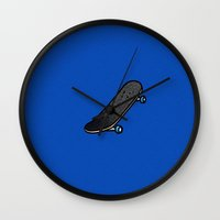 skateboard Wall Clocks featuring Skateboard by Mr & Mrs Quirynen