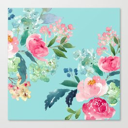 Aqua Blue Watercolor Pink Flowers Canvas Print