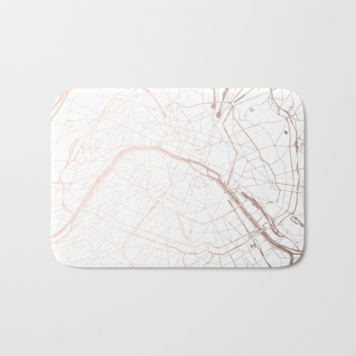 Paris France Minimal Street Map - Rose Gold Glitter Bath Mat by ...